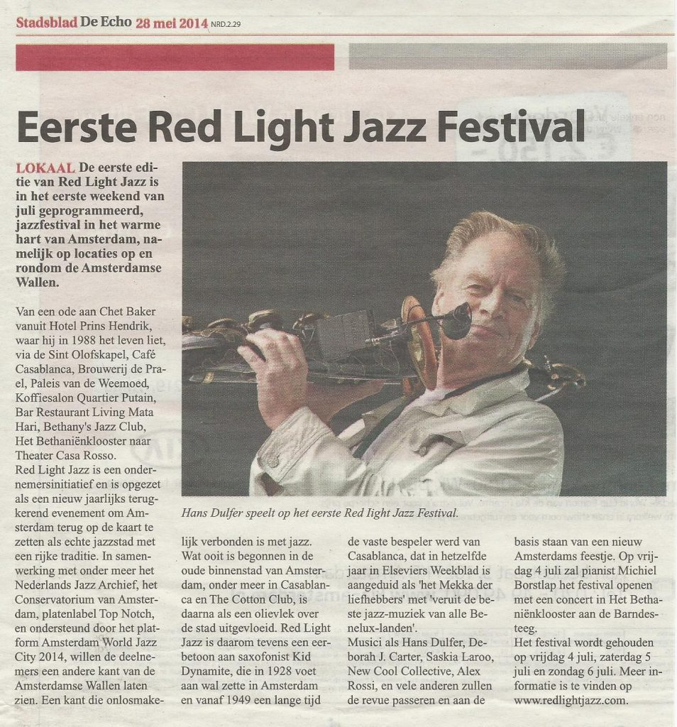 Eerste Red Light Jazz Festival (Echo © 28 mei 2014)