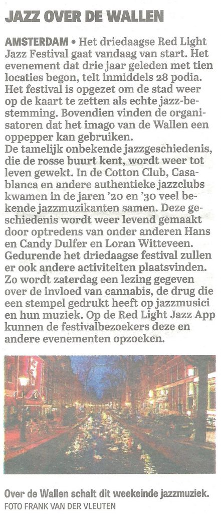 Telegraaf 2016-6-3 Jazz over de Wallen