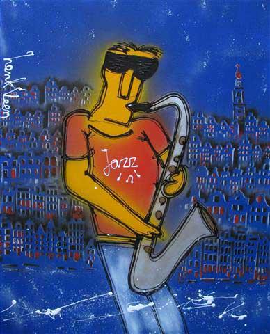 Hans Dulfer schilderij gemaakt door Henk Veen