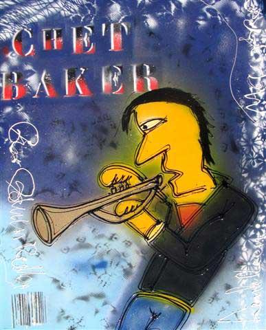 Chet Baker schilderij gemaakt door Henk Veen